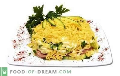 Salata cu șuncă, castraveți și brânză este ușoară și hrănitoare. Variante de șuncă de gătit, castraveți și salată de brânză