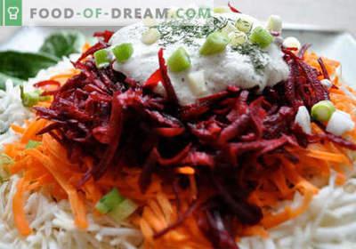Sfeclă roșie și morcov - o selecție a celor mai bune rețete. Cum să gustați în mod corespunzător și să pregătiți o salată de sfecla și morcovi.