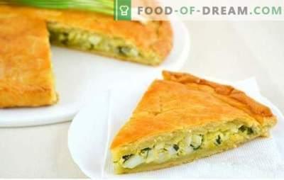 Plăcintă cu jelitină cu ceapă verde și ouă - rețete pentru prepararea de produse de patiserie aromate! Secretele de gătit cu plăcintă cu ceapă și ou verde