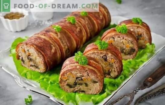 Smalcinātā gaļas roll ar sēnēm krāsnī ir aromātiska un barojoša uzkoda. Labākās maltas gaļas rullīšu receptes ar sēnēm cepeškrāsnī