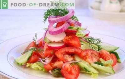 Salată proaspătă de roșii: o poveste veche într-un mod nou. Rețete originale de salate proaspete de roșii pentru sărbători și zile lucrătoare