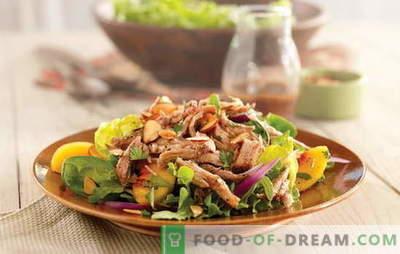 Lihtsa salatiga liha on rõõmsameelne suupiste. Kuidas valmistada lihtsa salati kodulindude, sealiha või veiselihaga