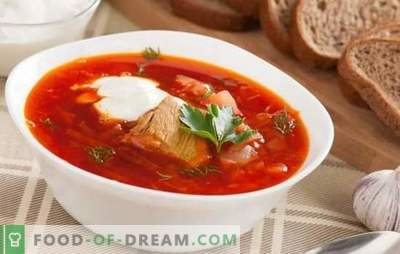 Borsch with pork - it is special for every hostess! Recipes rich, thick and nourishing soup with pork