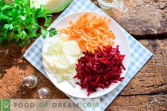 Gătit delicios borscht ucrainean în conformitate cu rețeta clasică