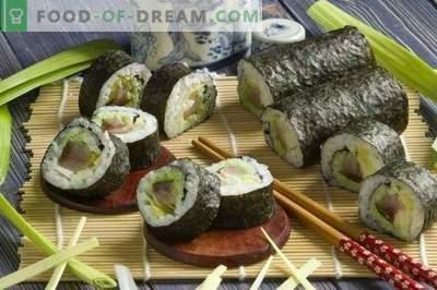 Sushi Maki cu anghilă afumată și ceapă de praz