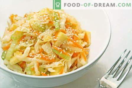 Salata de varza - cele mai bune retete. Salate de gatit din varza proaspata, conopida, mare si varza chinezeasca.