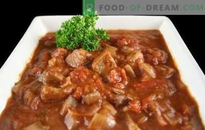 Jautienos guliašas lėtoje viryklėje - storoje sriuboje arba mėsoje su padažu? Geriausi jautienos guliašų receptai multivac su pomidorais, grietine