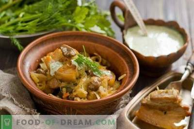 Pork belly with stewed cabbage and mushrooms