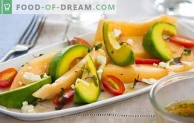 Salată cu pepene galben - aceasta este o încântare! Gatit salate parfumate și neobișnuite cu pepene galben și pui, brânză, fructe, nuci, avocado, șuncă