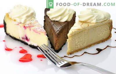 Cake Cheesecake: rețete originale pentru a face un desert dulce. Fă-te-te-tous cheesecake tort: de la cookie-uri, crema, brânză de vaci, brânză