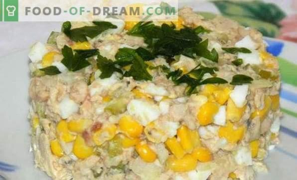 Rețete delicioase pentru salate de pește conservat, cu brânză topită, Gentle, Floarea-soarelui, Mimosa