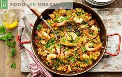 Classic paella - sunny Spain in your home! Recipes classic paella with meat and without meat, with seafood, bacon