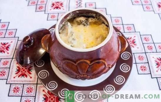 Skrudinta puode su grybais - ruošiame skanius ir kvapnus patiekalus. Kepta keptuvėse su grybais ir mėsa orkaitėje