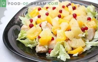Salată cu ananas și șuncă: pentru o vacanță cu un indiciu de exotică. Rețete combinații armonioase într-o salată cu ananas și șuncă
