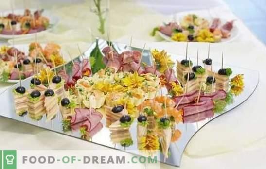Gustări pe masa de bufet: pește, carne, brânză, ciupercă, boabe. Opțiuni pentru aperitive pe masa de bufet și regulile pentru servirea acestora