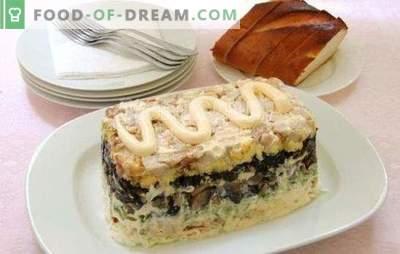 Salată cu pui afumat și ciuperci - decorarea mesei de sărbători. Cele mai bune retete pentru salate cu pui afumat si ciuperci