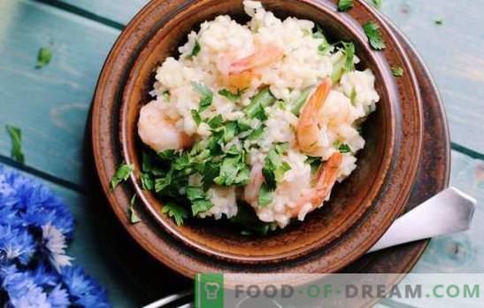 Risotto: o rețetă pas cu pas pentru un fel de mâncare delicioasă de orez. Gatiti risotto cu ciuperci, fructe de mare, leguminoase pe retete pas cu pas.