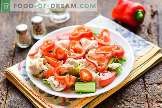 Toiduvalmistatud salat kana rinnaga ilma majoneesita