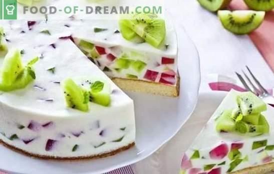 Tort cu jeleu și fructe: un desert colorat pentru ceai! Variante de prăjituri cu jeleu și fructe, fructe de pădure, brânză și biscuiți