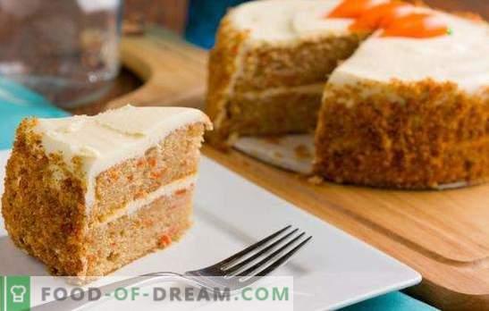 Tort de burete de morcov - desert însorit! Rețete delicioase prăjituri de morcov cu nucă, prune, coajă într-o aragaz și cuptor lent