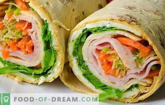 Diverse umpluturi pentru pâinea cu pita: ascuțită și delicată. O selecție de opțiuni de umplere pentru rulouri de pâine pita pentru toate ocaziile