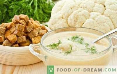 Supă de piure de conopidă: dietetică și delicată. Cele mai bune retete pentru supa de piure de conopida cu branza, carne, peste
