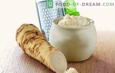 Cuplu picant - hrean cu usturoi. Asigurați condimente și sosuri, păstrați și faceți gustări de hrean cu usturoi
