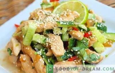 Salată cu piept de pui și castraveți - un aperitiv care nu este rușine să-l trateze. Cele mai bune retete pentru salate cu piept de pui si castravete