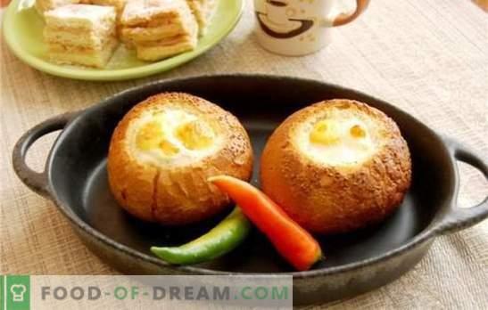 Huevos revueltos en el pan - si es simple está cansado! Recetas de los huevos fritos originales en pan con queso, chorizo, tomates