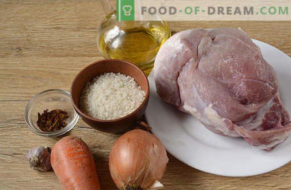 Pilaf de carne de porc: nu kosher, nu dietetic, dar incredibil de gustos! Reteta foto pas cu pas a pilafului parfumat cu carne de porc