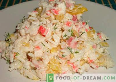 Salată de crab cu orez - retete dovedite. Cum să gătești salată de crab cu orez.