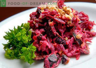 Salată din sfecla, nuci și prune - cele mai bune rețete. Cum să preparați în mod corespunzător și delicios o salată cu sfecla, nuci și prune.