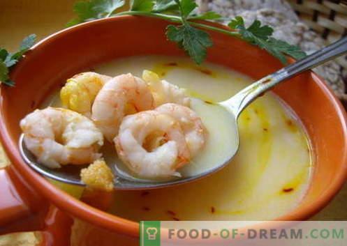 Supa de creveți - cele mai bune rețete. Cum să gătești în mod corespunzător și gustos supa de gătit cu creveți.