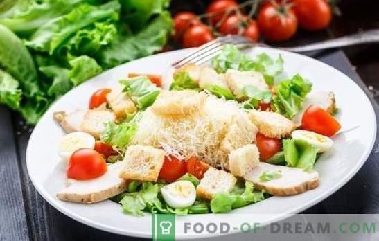 Salata de Caesar: o rețetă clasică, pas cu pas, pentru un fel de mâncare ușoară. Gătit salata clasică de Caesar cu sosul tău favorit pentru rețete pas-cu-pas