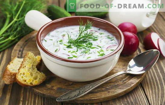 Okroshka, supa de sfeclă roșie și alte supe pe chefir, legume și carne. Rețete italiene, spaniole și rusești pentru supe pe chefir
