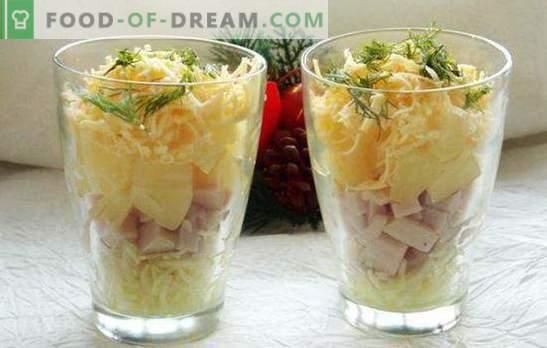 Cocktail de salată cu șuncă - frumusețe! Rețete pentru salate de cocktail cu șuncă și legume, brânză, porumb, ananas, pui