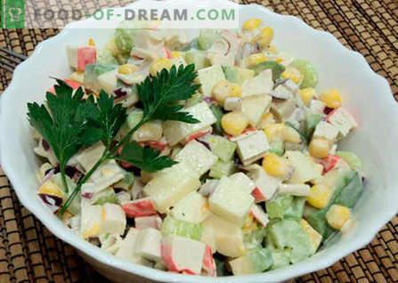 Salată cu paiete de avocado și crab - cele mai bune rețete. Cum să gustați în mod corespunzător și să pregătiți o salată de paie de avocado și crab.