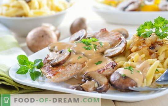 Carne în smântână - o varietate de feluri de mâncare și rețete savuroase. Rețete de carne în sos de smântână: fripturi umplute, gulaș