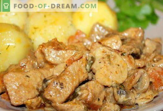 Carne de porc cu ciuperci - cele mai bune retete. Cum să gătesc corect și gustos carnea de porc cu ciuperci.