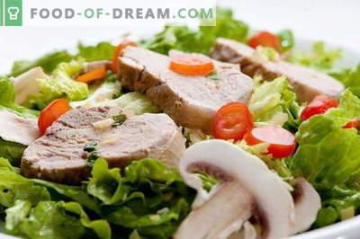 Salată de porc - cele mai bune rețete. Cum să gătesc în mod corect și gustos salată de carne de porc.