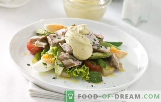 Salate cu ou și maioneză - un tratament consistent. Rețete originale de puf și salate mixte simple cu ouă și maioneză