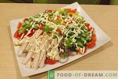 Salate de file de pui - cele mai bune cinci rețete. Cum să preparăm în mod corespunzător și delicios salatele cu file de pui.