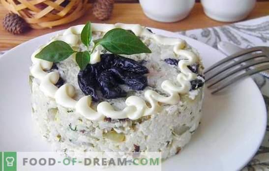 Salată de pui afumată cu prune - va fi delicioasă! Rețete de salate simple și pufoase din pui afumat cu prune