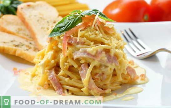 Spaghete carbonara - miros ca Italia! Rețete spaghete carbonara cu slănină, ciuperci, șuncă, pui, creveți