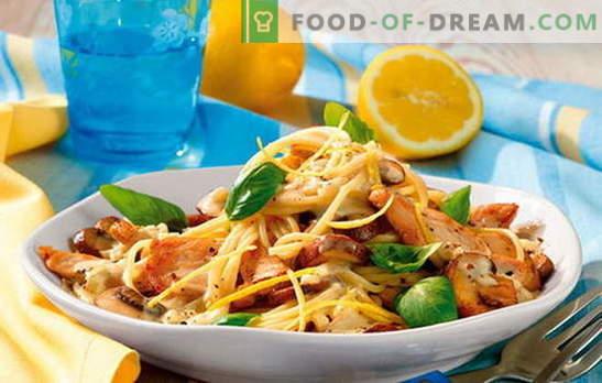 Paste cu file de pui - armonie completă! Rețete pentru feluri de mâncare de paste cu file de pui și legume, ciuperci, slanină, sosuri