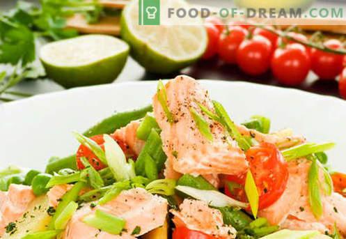 Salată cu somon sărat - rețetele potrivite. Savură rapidă și gustoasă, cu somon ușor sărată.
