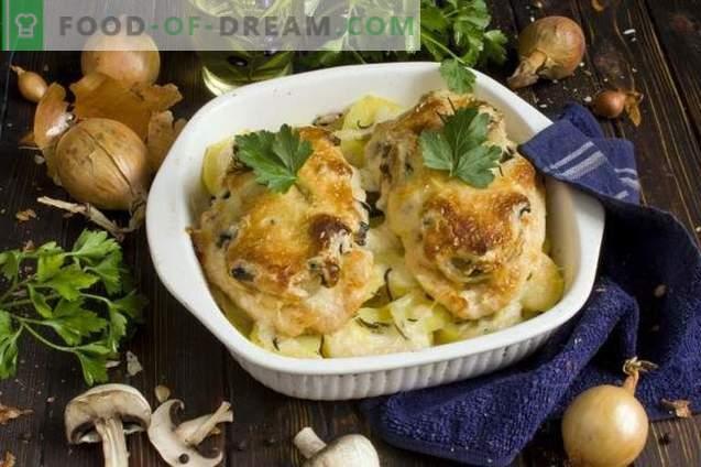 Frans kippenvlees met champignons en aardappelen